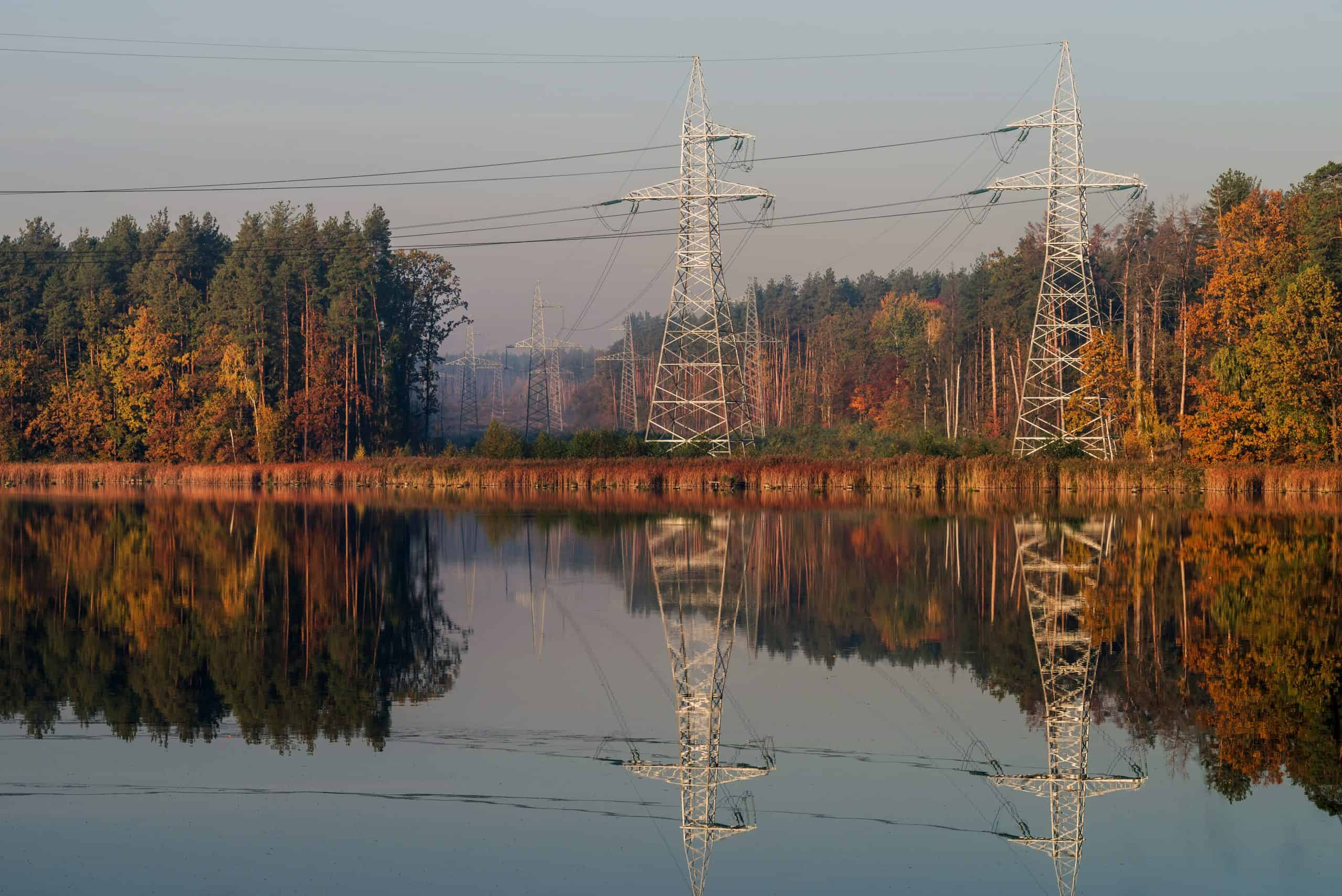 Energy distribution autumn lake