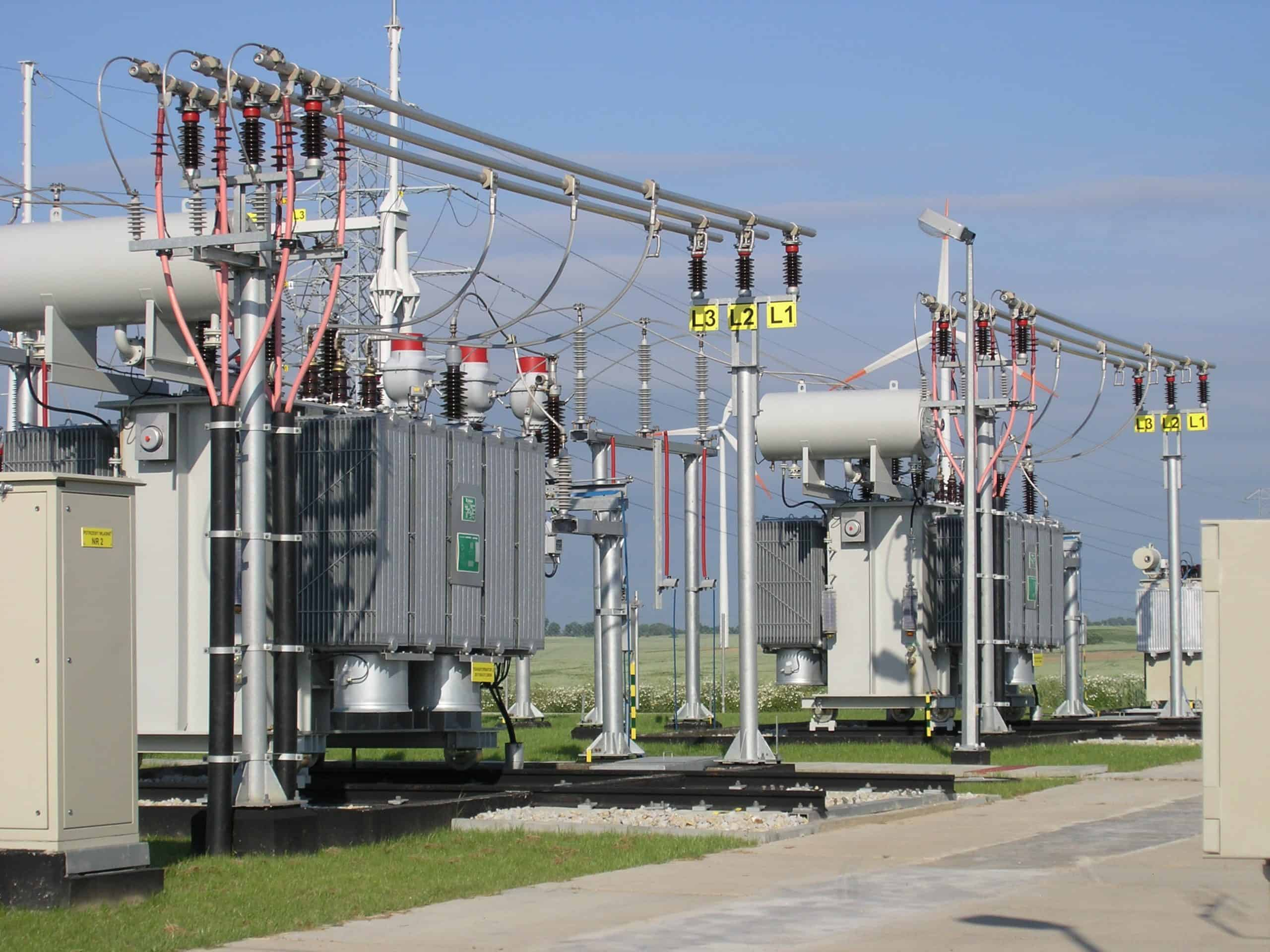 Power transformers in substation