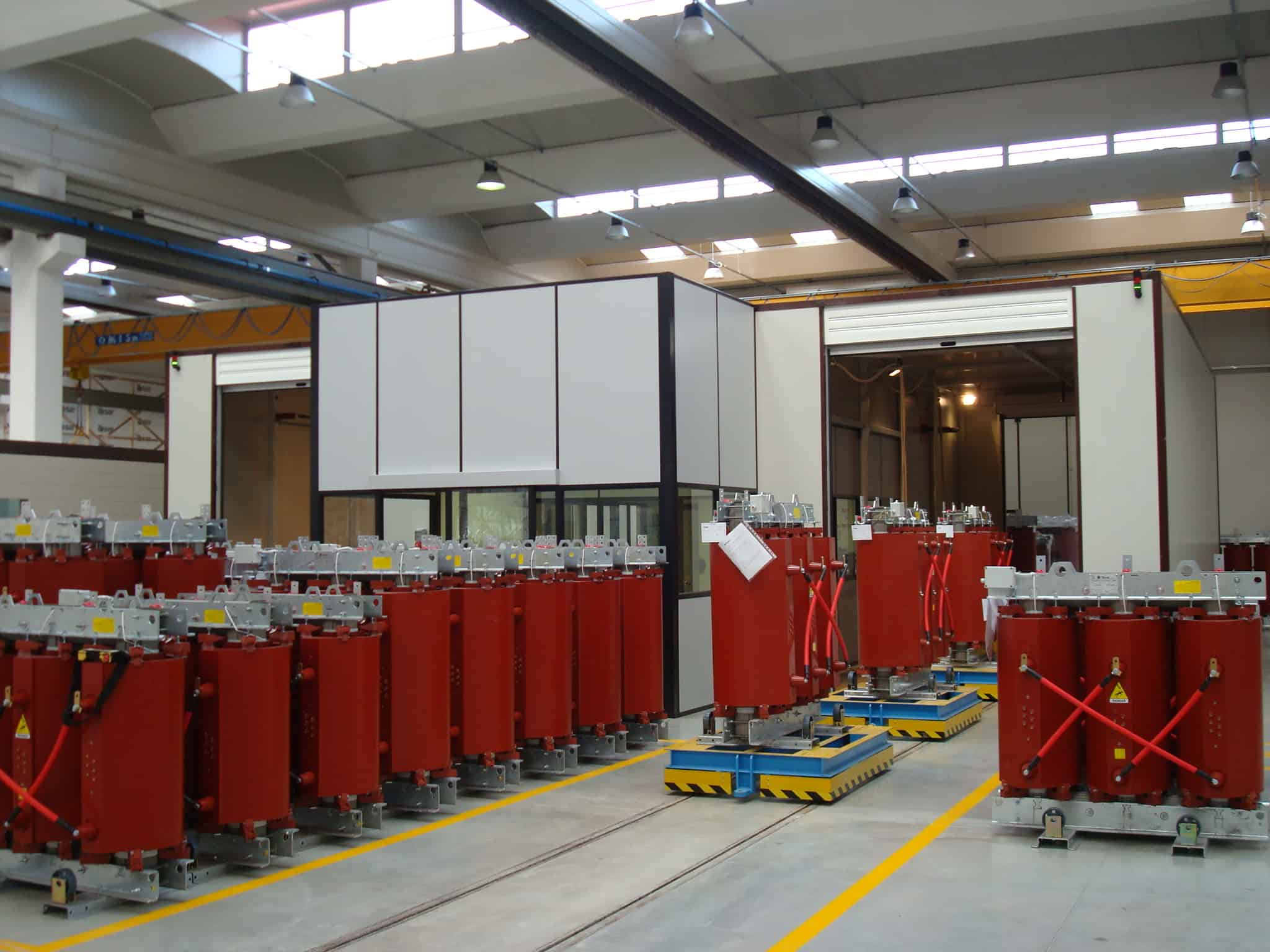 Testing room for cast resin transformers
