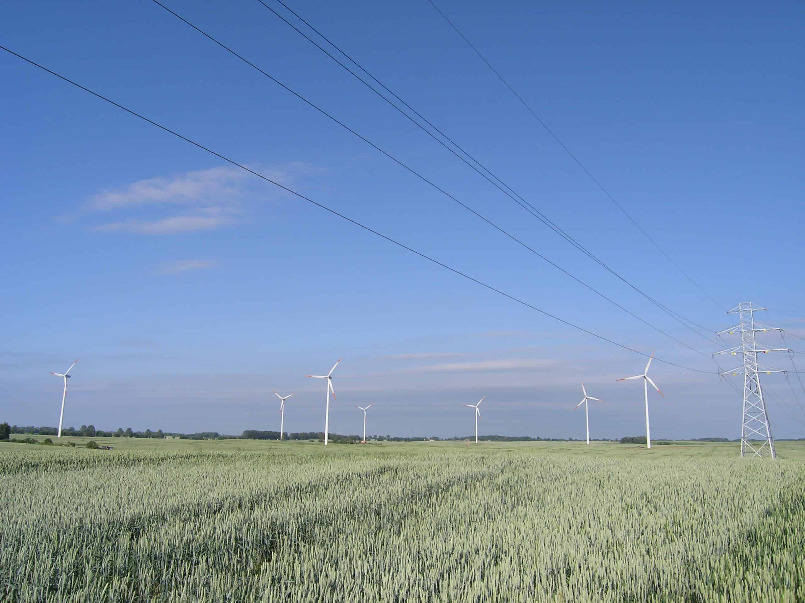 Wind park and distribution line